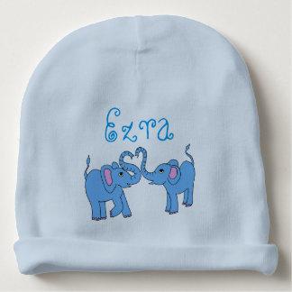 customizable (name) whimsical elephants baby hat