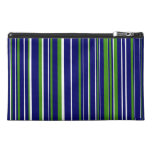 Customizable Navy Blue, Green, and White Stripe Travel Accessories Bag