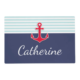 Customizable Navy Blue Red Anchor Design Placemat