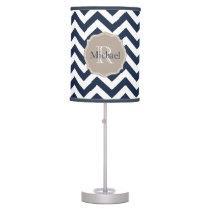 Customizable Navy Blue Unicolor Chevron Pattern Desk Lamp