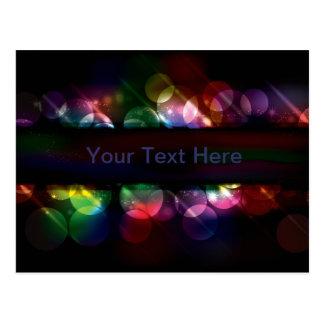 Customizable neon circle light effect background postcard