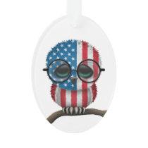 Customizable Nerdy American Baby Owl Chic Ornament