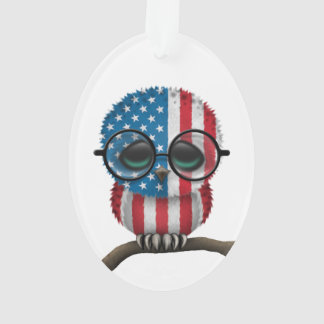 Customizable Nerdy American Baby Owl Chic Ornament