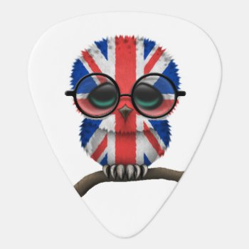 Customizable Nerdy British Baby Owl Chic Guitar Pick by crazycreatures at Zazzle