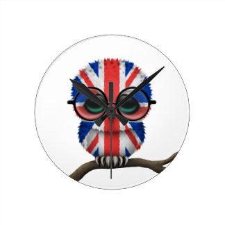 Customizable Nerdy British Baby Owl Chic Round Clock