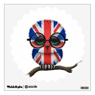 Customizable Nerdy British Baby Owl Chic Wall Decal