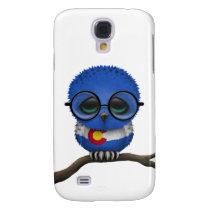 Customizable Nerdy Colorado Baby Owl Chic Samsung S4 Case