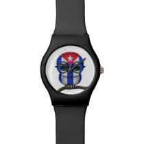 Customizable Nerdy Cuban Baby Owl Chic Wrist Watch