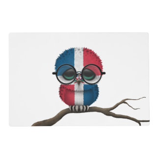 Customizable Nerdy Dominican Baby Owl Chic Placemat