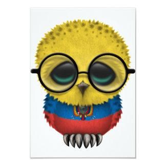 Customizable Nerdy Ecuadorian Baby Owl Chic 3.5x5 Paper Invitation Card
