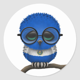 Customizable Nerdy El Salvador Baby Owl Chic Classic Round Sticker
