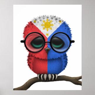 Customizable Nerdy Filipino Baby Owl Chic Poster