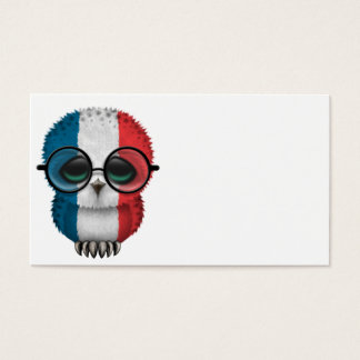 Customizable Nerdy French Baby Owl Chic Business Card