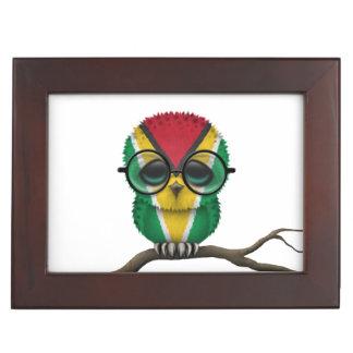 Customizable Nerdy Guyanese Baby Owl Chic Keepsake Box