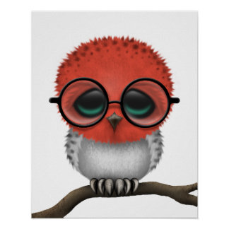 Customizable Nerdy Indonesian Baby Owl Chic Poster