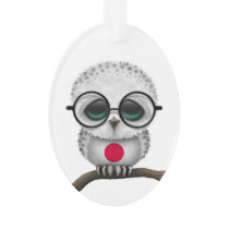 Customizable Nerdy Japanese Baby Owl Chic Ornament