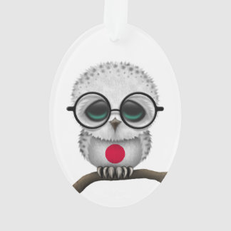 Customizable Nerdy Japanese Baby Owl Chic Ornament