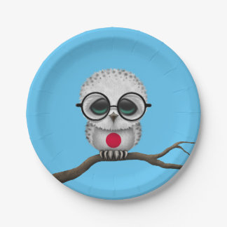 Customizable Nerdy Japanese Baby Owl Chic Paper Plate