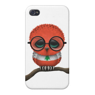 Customizable Nerdy Lebanese Baby Owl Chic iPhone 4 Cases