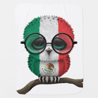 Customizable Nerdy Mexican Baby Owl Chic Swaddle Blanket