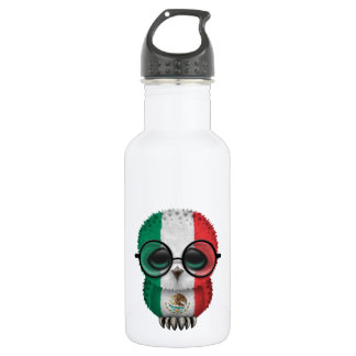 Customizable Nerdy Mexican Baby Owl Chic Water Bottle