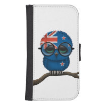 Customizable Nerdy New Zealand Baby Owl Chic Samsung S4 Wallet Case
