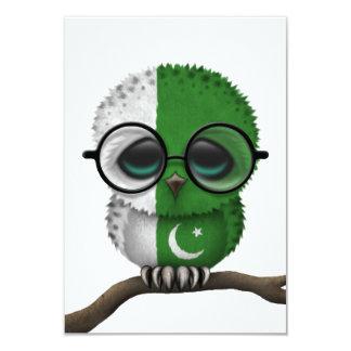 Customizable Nerdy Pakistani Baby Owl Chic 3.5x5 Paper Invitation Card