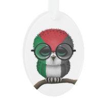 Customizable Nerdy Palestinian Baby Owl Chic Ornament