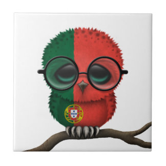 Customizable Nerdy Portuguese Baby Owl Chic Ceramic Tile