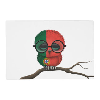Customizable Nerdy Portuguese Baby Owl Chic Placemat