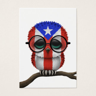 Customizable Nerdy Puerto Rican Baby Owl Chic Business Card