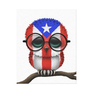 Customizable Nerdy Puerto Rican Baby Owl Chic Canvas Print
