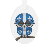 Customizable Nerdy Quebec Baby Owl Chic Ornament