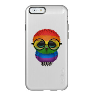 Customizable Nerdy Rainbow Gay Pride Baby Owl Chic Incipio Feather Shine iPhone 6 Case