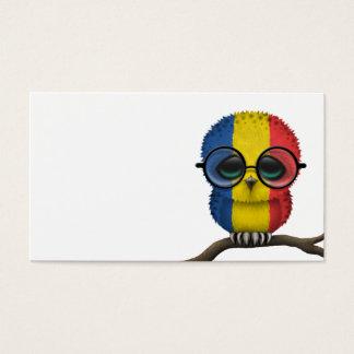 Customizable Nerdy Romanian Baby Owl Chic Business Card