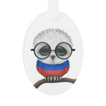 Customizable Nerdy Russian Baby Owl Chic Ornament