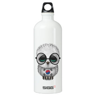 Customizable Nerdy South Korean Baby Owl Chic Aluminum Water Bottle