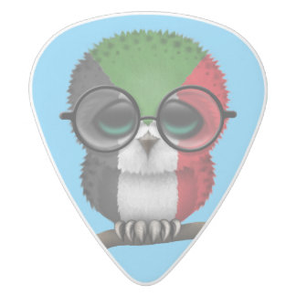 Customizable Nerdy Sudanese Baby Owl Chic White Delrin Guitar Pick