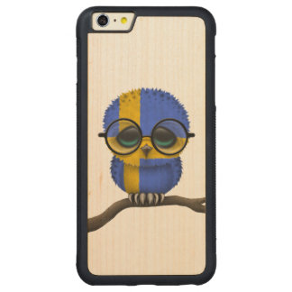 Customizable Nerdy Swedish Baby Owl Chic Carved Maple iPhone 6 Plus Bumper Case