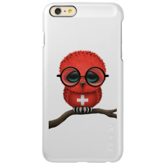 Customizable Nerdy Swiss Baby Owl Chic Incipio Feather Shine iPhone 6 Plus Case
