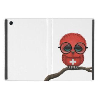 Customizable Nerdy Swiss Baby Owl Chic iPad Mini Covers