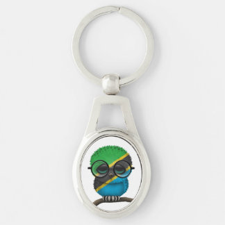 Customizable Nerdy Tanzanian Baby Owl Chic Keychains