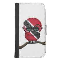 Customizable Nerdy Trinidadian Baby Owl Chic Galaxy S4 Wallet Case