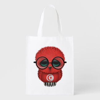 Customizable Nerdy Tunisian Baby Owl Chic Reusable Grocery Bags