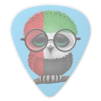 Customizable Nerdy United Arab Emirates Baby Owl White Delrin Guitar Pick