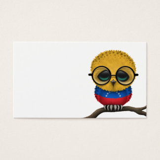 Customizable Nerdy Venezuelan Baby Owl Chic Business Card