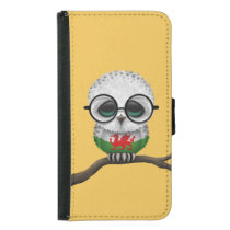 Customizable Nerdy Welsh Baby Owl Chic Samsung Galaxy S5 Wallet Case