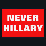 "Customizable NEVER HILLARY For President 2016 Yard Sign<br><div class=""desc"">Haven&#39;t made up your mind as yet but you are 100% sure you aren&#39;t voting for Hillary Clinton to be president in 2016? Let people know with this yard sign! Includes white &#39;Never Hillary&quot; text.Have fun customizing it! Change text font and colour.Change red background.Change text and make up your own...</div>"