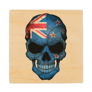 Customizable New Zealand Flag Skull Maple Wood Coaster