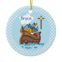 Customizable Noah's Ark Baby Baptism, Boy Blue Ceramic Ornament